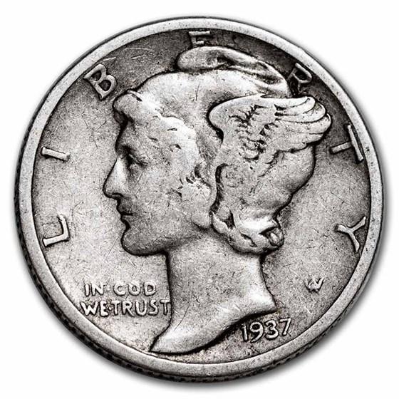 1937-D Mercury Dime Avg Circ