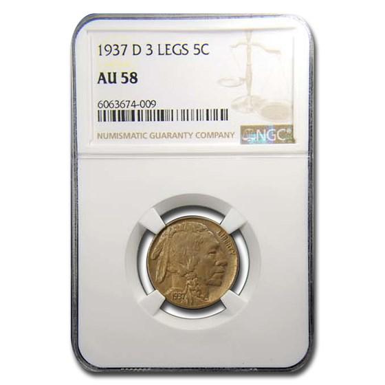 1937-D Three Legged Buffalo Nickel AU-58 NGC