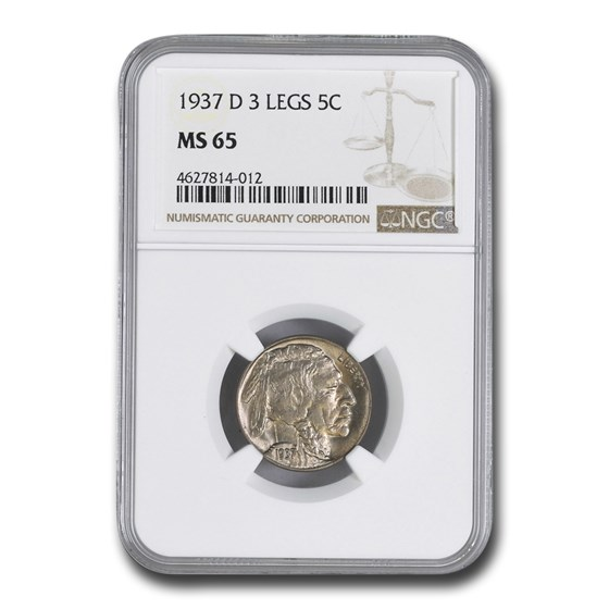 1937-D Three Legged Buffalo Nickel MS-65 NGC