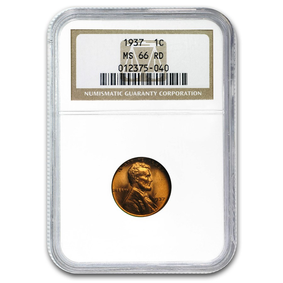 1937 Lincoln Cent MS-66 NGC (Red)