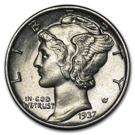 1937 Mercury Dime AU