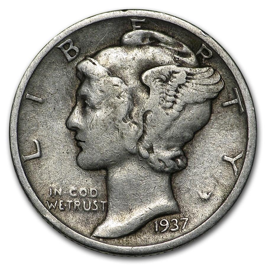1937 Mercury Dime Good/VF