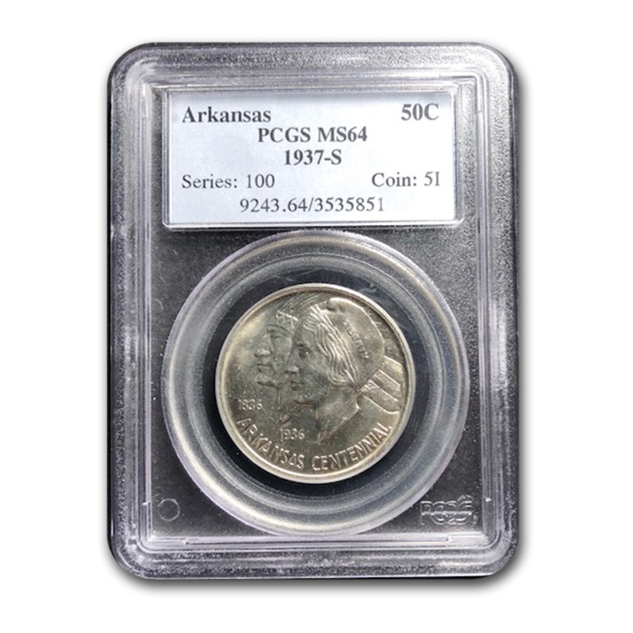 1937-S Arkansas Half Dollar Commemorative MS-64 PCGS