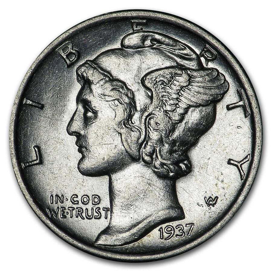 1937-S Mercury Dime AU