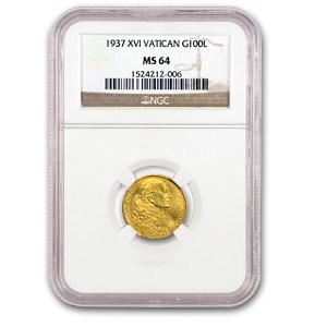 1937 Vatican City Gold 100 Lire MS-64 NGC