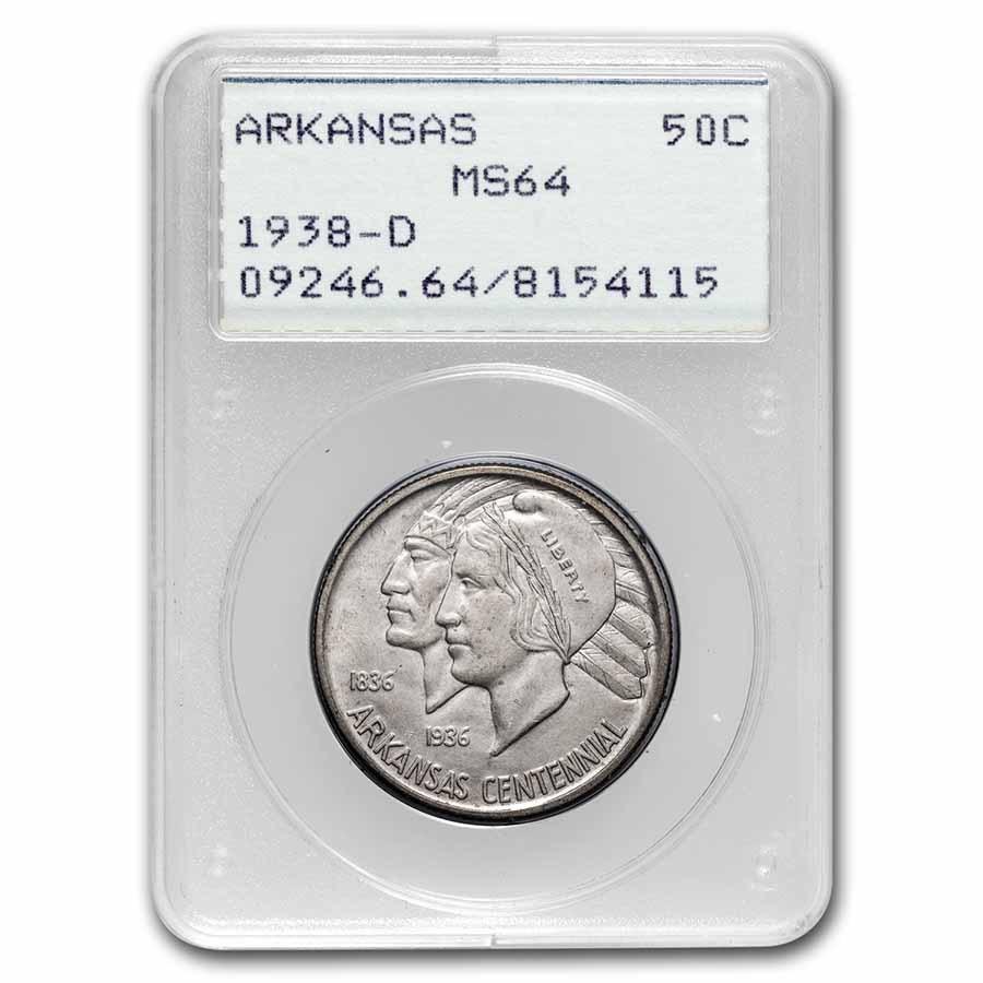 1938-D Arkansas Half Dollar Commem MS-64 PCGS (Rattler Holder)