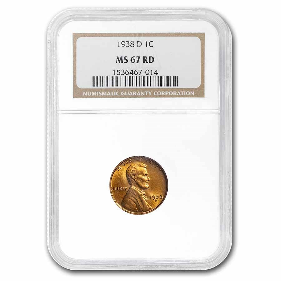1938-D Lincoln Cent MS-67 NGC (Red)