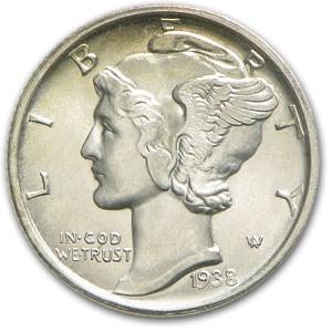 1938-D Mercury Dime BU
