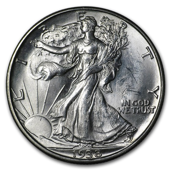 1938-D Walking Liberty Half Dollar BU