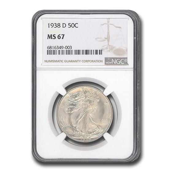 1938-D Walking Liberty Half Dollar MS-67 NGC