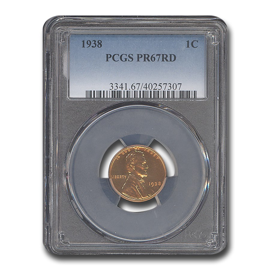1938 Lincoln Cent PR-67 PCGS (Red)