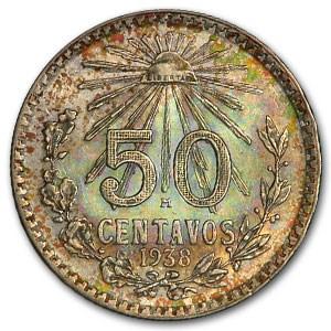 1938-M Mexico Silver 50 Centavos BU