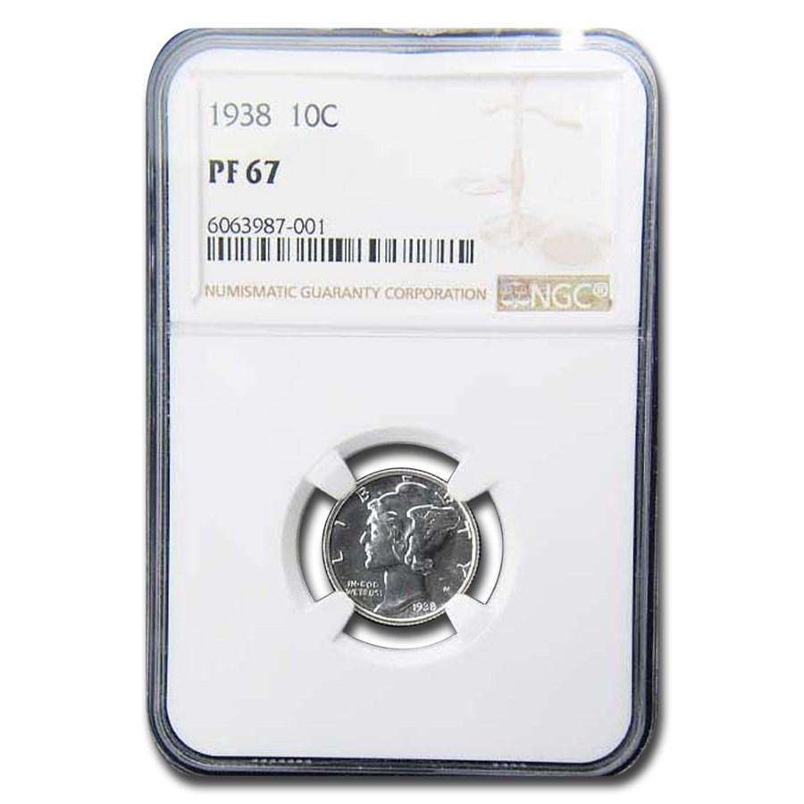 1938 Mercury Dime PF-67 NGC