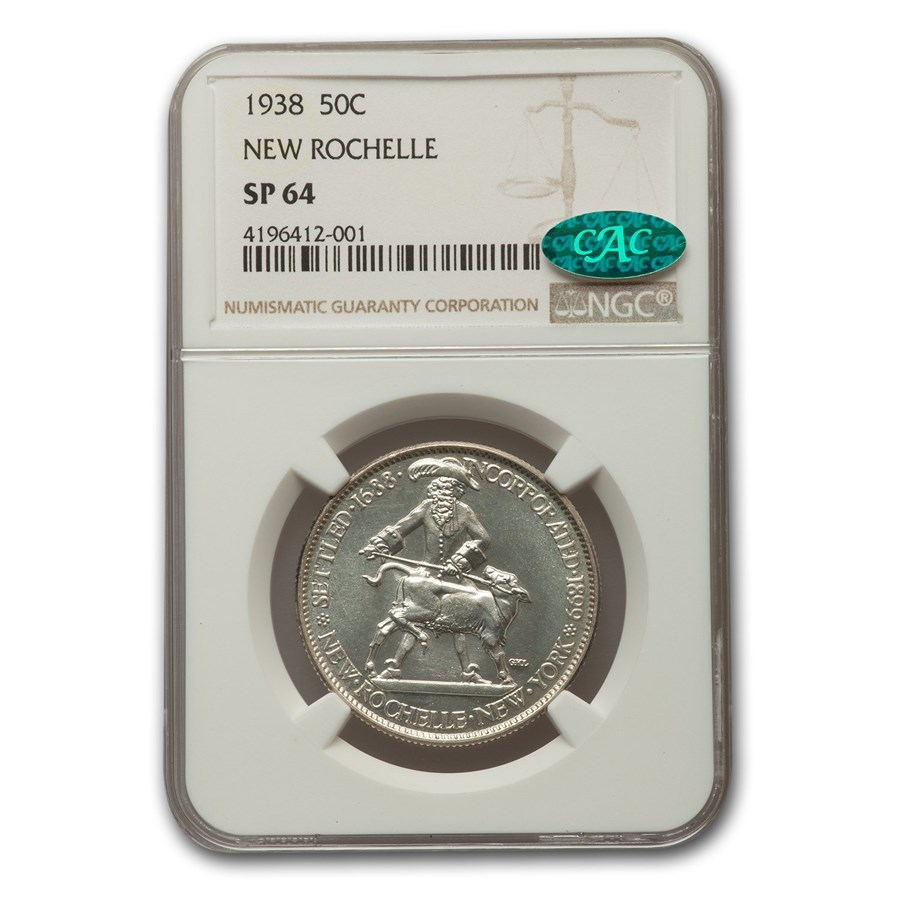 1938 New Rochelle Half 250th Anniversary SP-64 NGC CAC