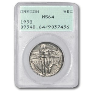 1938 Oregon Trial Half Dollar MS-64 PCGS (Old Rattler Holder)