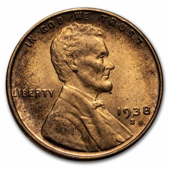 1938-S Lincoln Cent BU (Red/Brown)