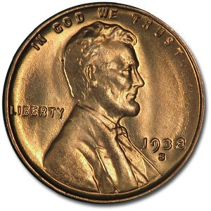 1938-S Lincoln Cent BU (Red)