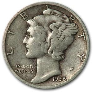 1938-S Mercury Dime Avg Circ