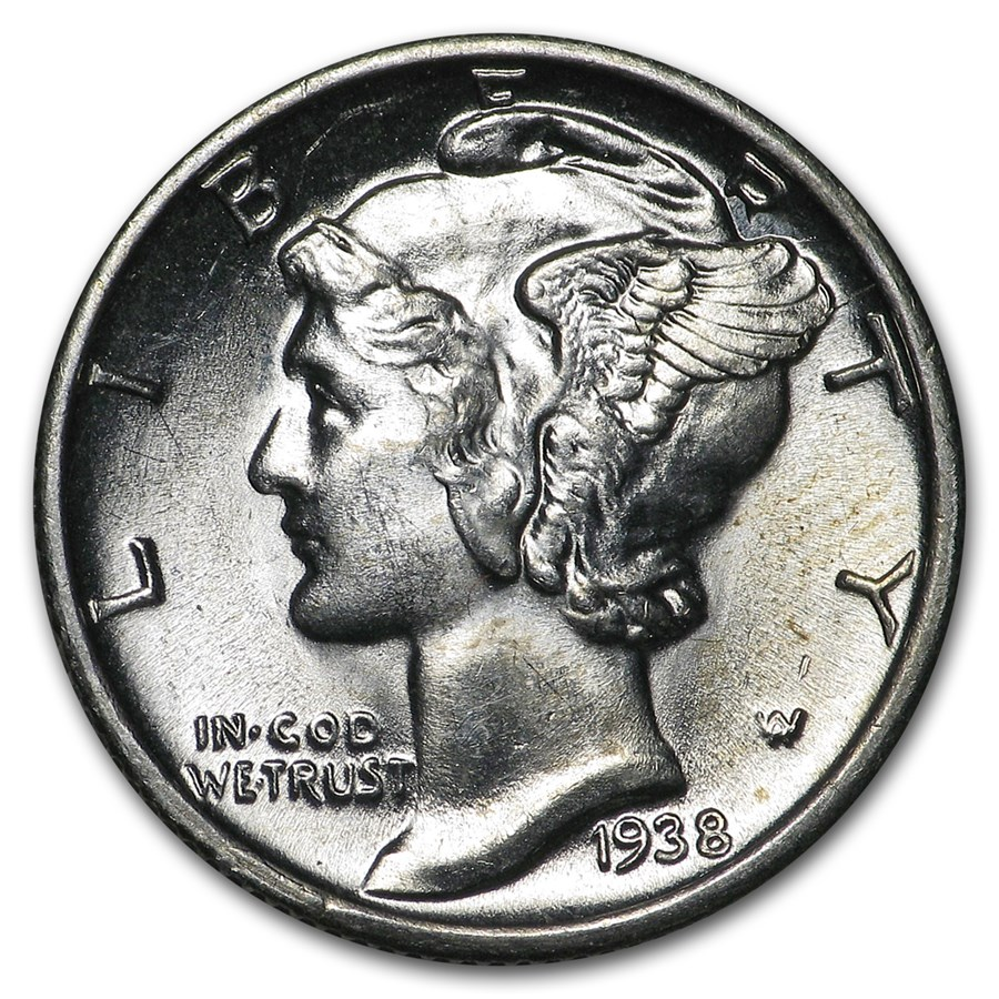 1938-S Mercury Dime BU
