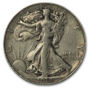 1938 Walking Liberty Half Dollar AU