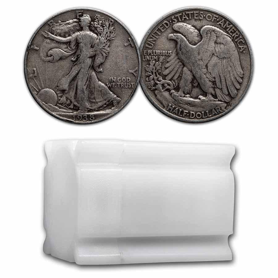 1938 Walking Liberty Halves 20-Coin Roll Avg Circ