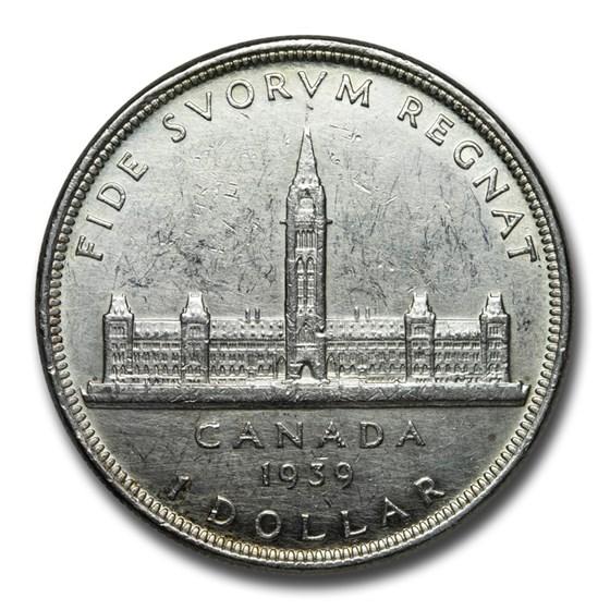 1939 Canada Silver Dollar Royal Visit AU (Details)
