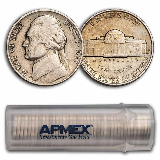 1939-D Jefferson Nickel 40-Coin Roll Avg Circ