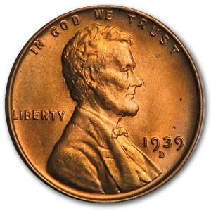 1939-D Lincoln Cent BU (Red)