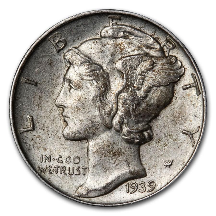 1939-D Mercury Dime AU