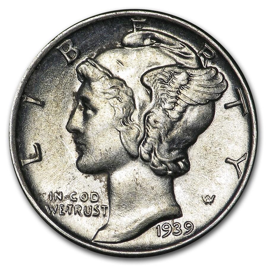 1939 Mercury Dime AU