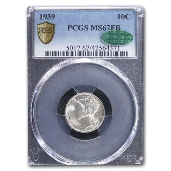1939 Mercury Dime MS-67 PCGS CAC (FB)