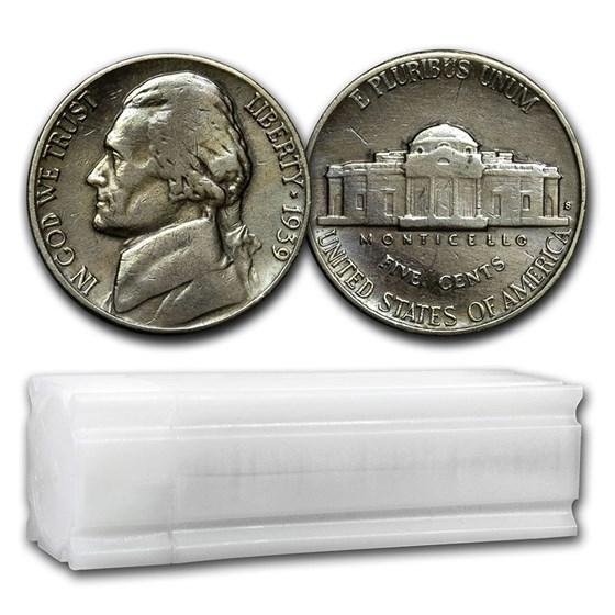 1939-S Jefferson Nickel 40-Coin Roll Avg Circ