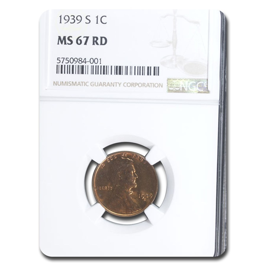 1939-S Lincoln Cent MS-67 NGC (Red)