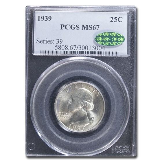 1939 Washington Quarter MS-67 PCGS CAC