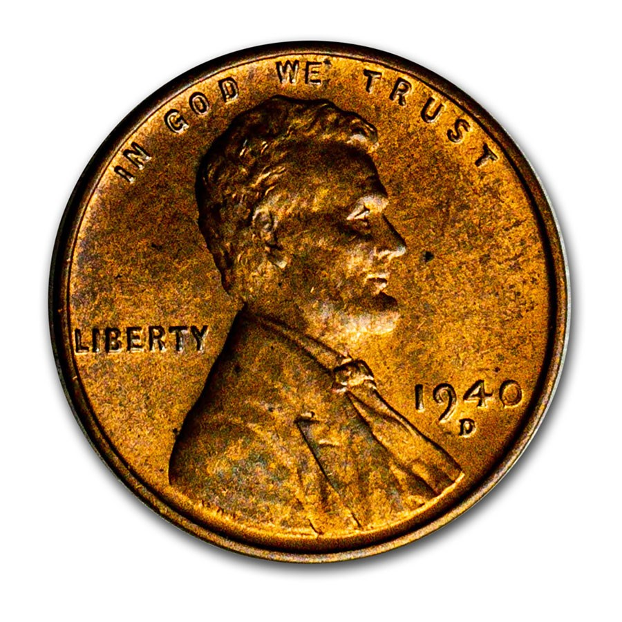 1940-D Lincoln Cent BU (Red/Brown)