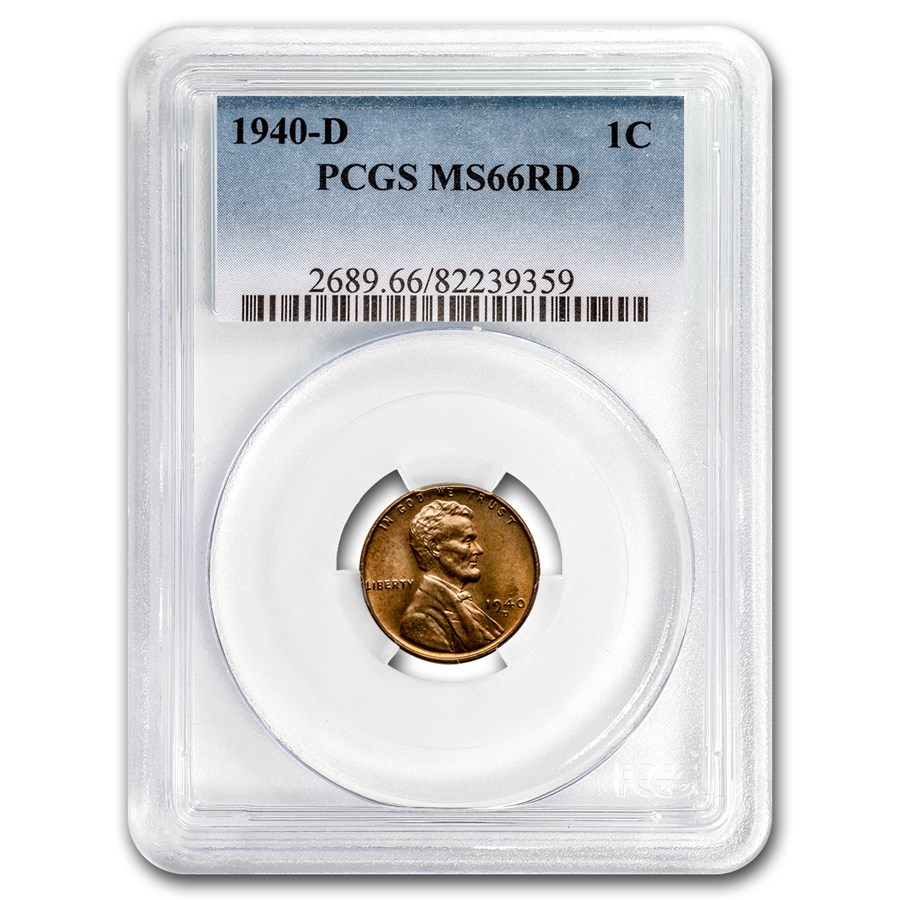 1940-D Lincoln Cent MS-66 PCGS (Red)