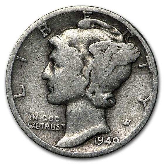 1940-D Mercury Dime Good/VF