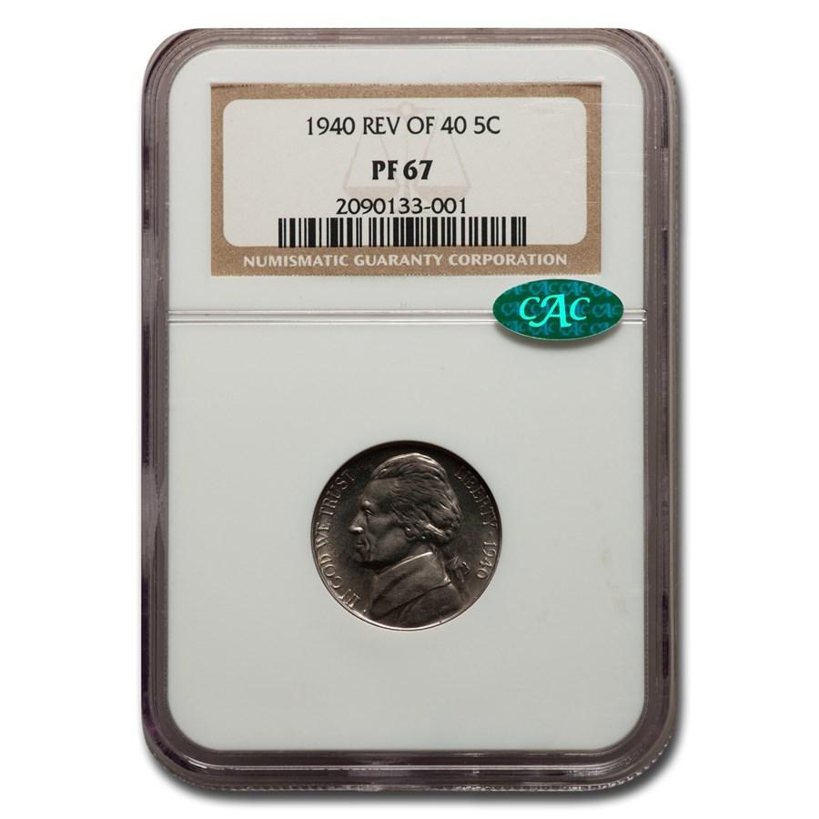1940 Jefferson Nickel PF-67 NGC CAC (Rev of 40)