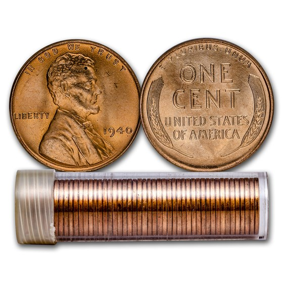 1940 Lincoln Cent 50-Coin Roll BU