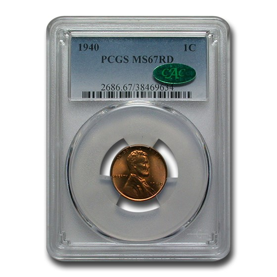 1940 Lincoln Cent MS-67 PCGS CAC (Red)