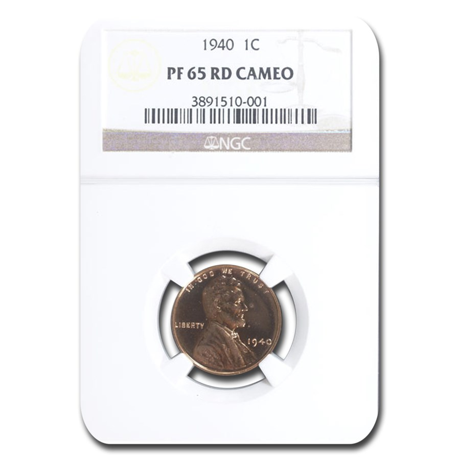 1940 Lincoln Cent PF-65 Cameo NGC (Red)