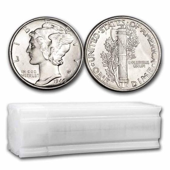 1940 Mercury Dime 50-Coin Roll BU