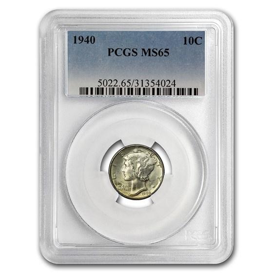 1940 Mercury Dime MS-65 PCGS