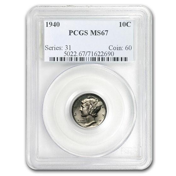 1940 Mercury Dime MS-67 PCGS
