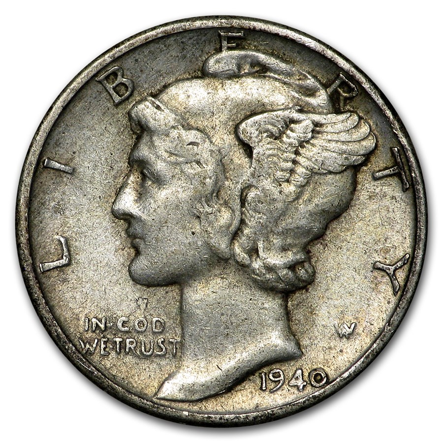 1940 Mercury Dime XF