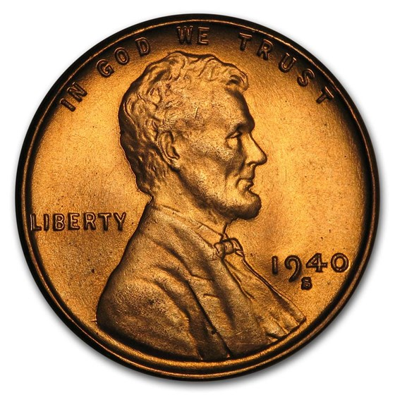 1940-S Lincoln Cent BU (Red)