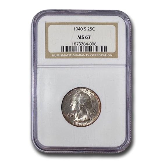 1940-S Washington Quarter MS-67 NGC