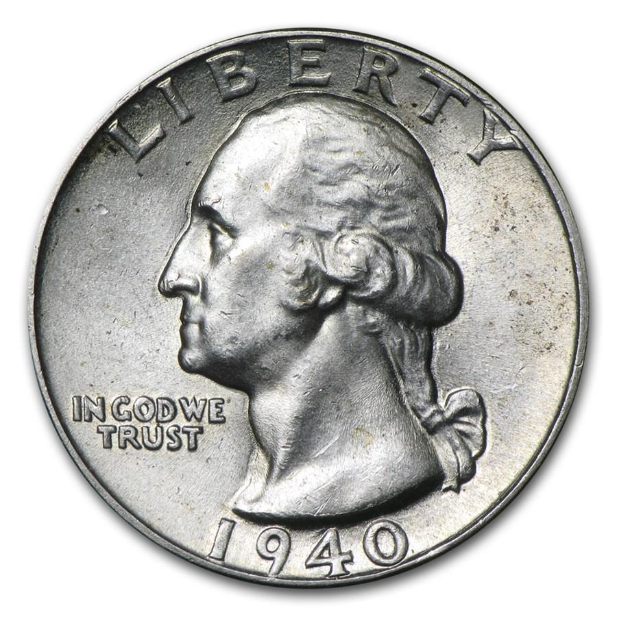 1940 Washington Quarter BU