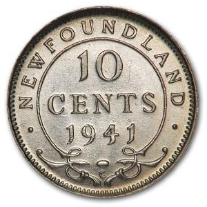 1941-C Newfoundland Silver 10 Cents AU-58 George VI