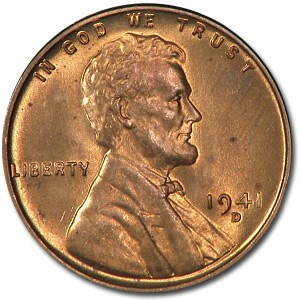 1941-D Lincoln Cent BU (Red)